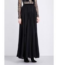 Morv Embroidered Pleated Chiffon Maxi Skirt Black Noir