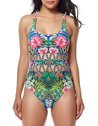 Red Carter A Shangri La T Back Mio One Piece Swimsuit Black Multi