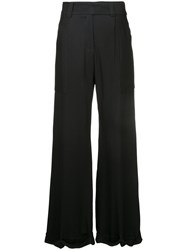 Taylor Wide Leg Trousers Viscose Black