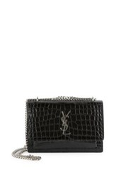 Saint Laurent Mini Sunset Monogram Croc Embossed Patent Leather Chain Wallet Marine Black