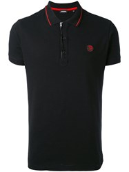 Diesel Zipped Neck Polo Shirt Men Cotton Spandex Elastane L Black