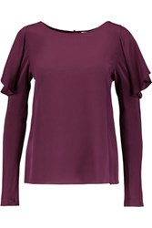 Temperley London Violetta Ruffled Silk Crepe De Chine Top Plum
