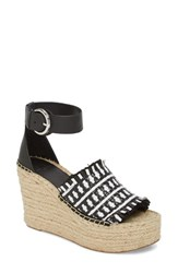 Marc Fisher 'S Ltd Andrew Espadrille Wedge Sandal White Black Leather