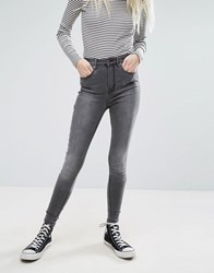 Only High Waist 7 8 Skinny Jeans With Ankle Zip In Grey Wash Grey