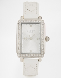 Lipsy Watch With White Leather Look Strap Silverwhite