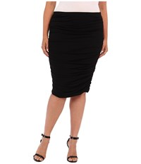 Vince Camuto Plus Size Rouched Midi Skirt Rich Black Women's Skirt