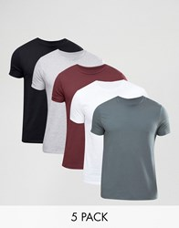 Asos 5 Pack T Shirt With Crew Neck W B Gy Rosewood Murk Multi