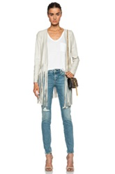Theperfext Christy Fringe Leather Jacket In Neutrals