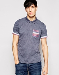 Another Influence Geo Tribal Pocket Polo Shirt Navy