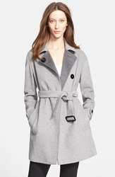 Burberry 'Hawkswell' Wool And Cashmere Wrap Coat Pale Grey Melange
