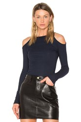 Frame Denim Cold Shoulder Top Blue