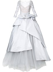 Mikael D. Longsleeved Ball Gown Grey