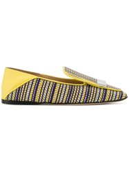 Sergio Rossi Sr1 Striped Slippers Cotton Lamb Skin Leather Blue