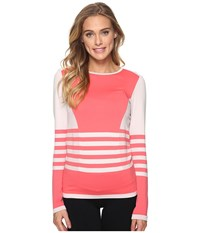 The North Face Long Sleeve Secondskin Top Lunar Ice Grey Calypso Coral Prior Season Long Sleeve Pullover Pink