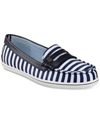 Tommy Hilfiger Butter Penny Loafers Women's Shoes Blue Stripes
