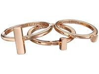 French Connection Rectangle Bar Midi Ring Set Rose Gold Ring