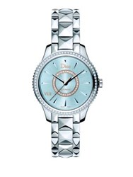 Christian Dior Dior Viii Montaigne Diamond Mother Of Pearl And Two Tone Stainless Steel Automatic Bracelet Watch Silver Blue