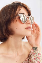 Urban Outfitters Ella Painted Metal Round Sunglasses Blush