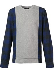 Mostly Heard Rarely Seen Plaid Sleeves Sweatshirt Grey