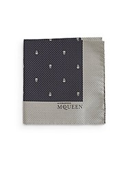 Alexander Mcqueen Silk Dotted Skull Handkerchief Midnight Blue