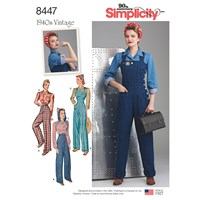 Simplicity Vintage 1940S Trousers Blouse And Overalls Sewing Pattern 8447