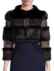 Alberto Makali Rabbit Fur And Embellished Lace Bolero Black