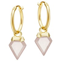 Missoma Rose Quartz Mini Hoop Earrings Gold