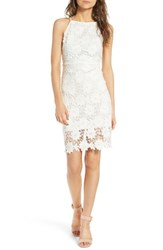 Soprano Women's High Neck Lace Body Con Dress Ivory