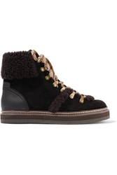 See By Chloe Shearling Trimmed Suede Ankle Boots Brown