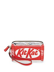 Anya Hindmarch Kit Kat Zippered Leather Wristlet Bright Red