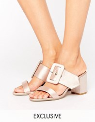 The March Buckle Mid Heeled Mules Nude Pink