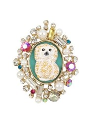 Betsey Johnson Granny Chic Faux Pearl And Crystal Poodle Cameo Ring
