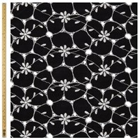 Unbranded Cut Work Flower Print Fabric Black White