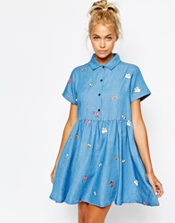 Lazy Oaf Button Front Shirt Dress In Denim With Patches Blue