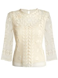 Red Valentino Macrame Lace Cotton Top Ivory