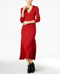 G.H. Bass And Co. V Neck Maxi Dress Red Black