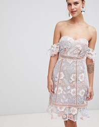 True Decadence Off Shoulder Embroidered Dress Pink Blue Embroidery Multi