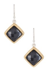 Anna Beck 18K Gold Plated Sterling Silver Diamond Shaped Hematite Drop Earrings Black
