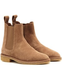 Bottega Veneta Suede Chelsea Ankle Boots Brown