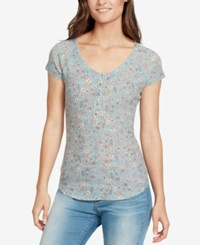 William Rast Printed Waffle Knit Henley Top Aqua Sky Ditsy Femme Floral