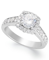Macy's Square Shaped Diamond Halo Ring In 14K White Gold 1 1 2 Ct. T.W.