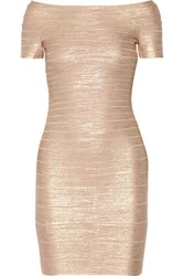 Herve Leger Carmen Metallic Off The Shoulder Bandage Mini Dress Rose Gold