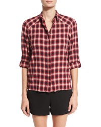 Alice Olivia Glenna Crinkle Plaid Shirt Multi