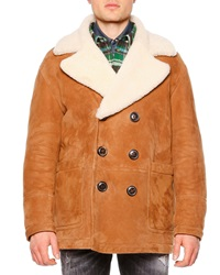Dsquared Long Sleeve Shearling Fur Collar Coat Brown