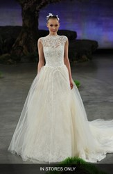 Women's Ines Di Santo 'Margeaux' Lace Tulle And Organza Ballgown Overskirt With Detachable Train In Stores Only
