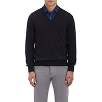 Barneys New York Men's Cashmere V Neck Sweater Dark Grey