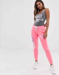 Superdry Track And Field Logo Joggers Pink