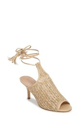 Charles By Charles David Women's Niko Ankle Tie Sandal Natural Basket Woven Fabric