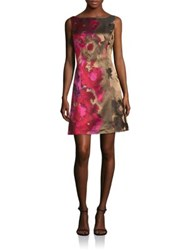 Kay Unger Floral Print A Line Dress Pink Multi