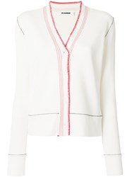 Jil Sander Contrast Detail Cardigan Nude And Neutrals
